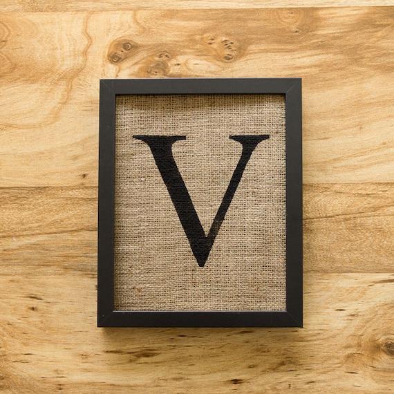 Wall Decor Letter V : Letter v alphabet art burlap wall decor monogram by laxtoyvr