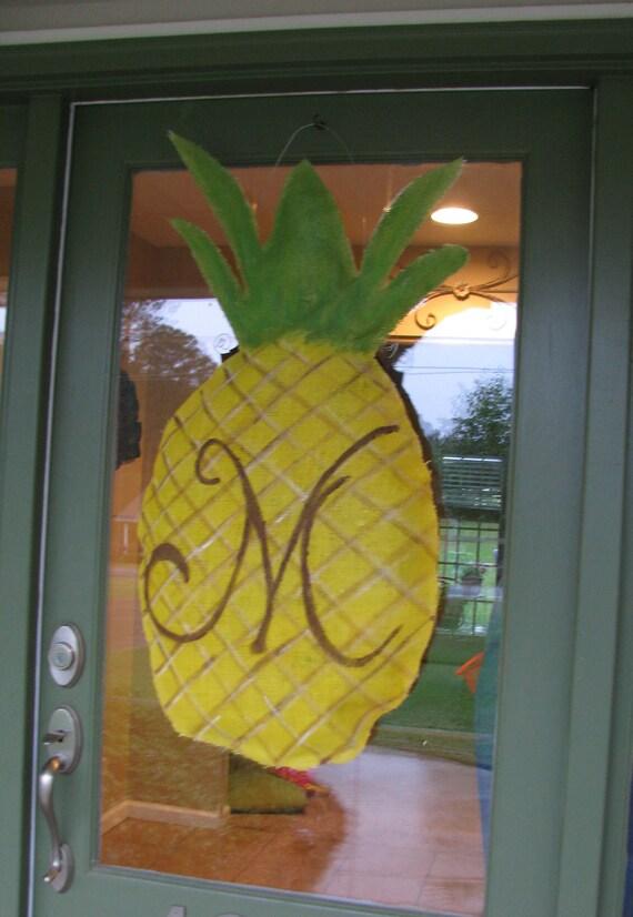 Pineapple Burlap Door Hanger By Stitcherellas On Etsy