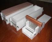 2 hdpe 4 LB Soap Molds,1 Cutter,1 Cutter Blade, 2 Wooden Lids makes 28 Bars E.