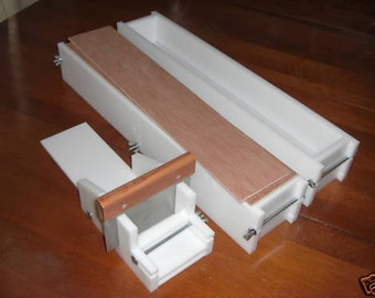 2 hdpe 6 LB Soap Molds,1 Cutter,1 Cutter Blade, 2 Wooden Lids makes 42 Bars E.