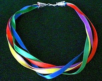 Silk Satin Ribbon Necklace of Jewel Tones