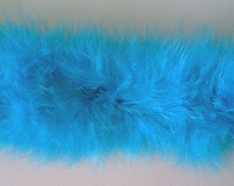 Turquoise Blue Marabou Feathers Ribbon Trim - Craft, Costume, Millinery Trim - Sold by the Yard