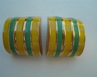 Vintage Yellow and Green Earrings - Clip Earrings