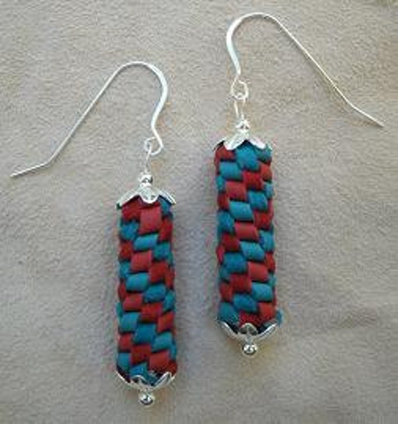 Turquoise and Red Spiral Braided Leather and Sterling Silver Earrings - Two-Tone Western Southwestern Style Earrings