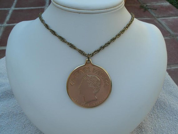 Large Gold Medallion Pendant - Souvenir Necklace from Caesar's Palace in Las Vegas - Vintage 1991