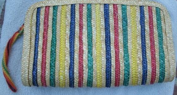 Vintage 1970s Colorful Striped Straw Clutch Purse - Made in Macau