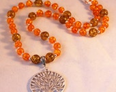 Pewter Tree of Life and Amber Necklace