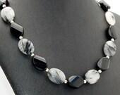 Tourmalinated Quartz & Onyx Gemstone Necklace - Strand Necklace - Statement Necklace - Black Necklace - February Birthstone