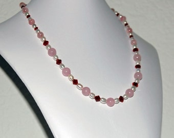 Handmade Rose Quartz, Pearl and Swarovski Crystal Beaded Statement Necklace