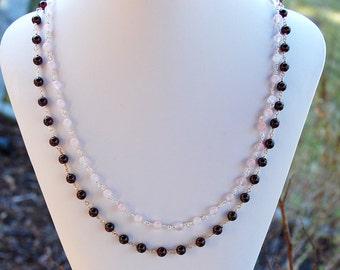 Garnet and Rose Quartz Natural Stone Two Strand Necklace