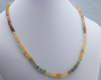 Fluorite Gemstone and Sterling Silver Necklace, Ombre Gemstone Necklace, Rainbow Fluorite Necklace