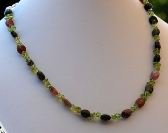 Tourmaline and Peridot Birthstone Necklace, Gemstone Necklace, August Birthstone Necklace, October Birthstone Necklace