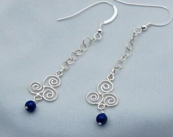 Sterling Silver Celtic Spiral Lapis Designer Earrings