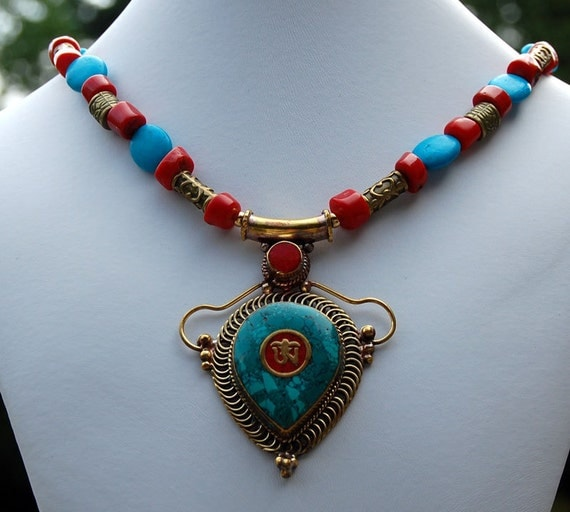 Tibetan Om Pendant Turquoise and Coral Statement Necklace