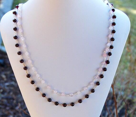 Garnet and Rose Quartz Necklace - Strand Necklace - January Birthstone - Statement Necklace