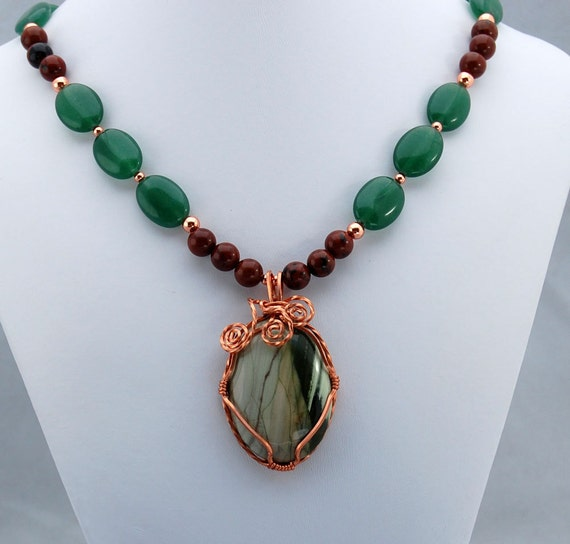Copper Wrapped Green Jasper Pendant with Jade and Mahogany Obsidian Statement Necklace