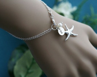 Bridesmaid gifts,set of 4,Initial bracelets,Pearl,Starfish bracelet,Beach theme,Wedding jewelry,Bridal jewelry,Monogrammed