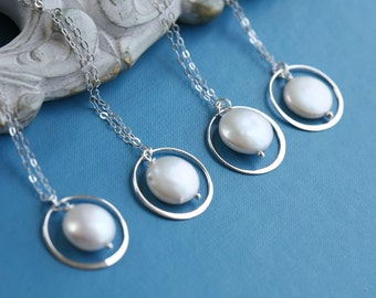 Set of 5,Eternity Circle pearl Necklace,Bridesmaid gift,Coin Pearl necklace,Bridesmaid gifts,Wedding jewelry,karma circle necklace,birthday