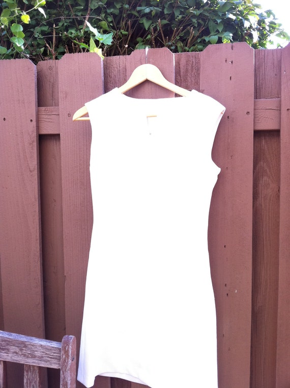 Mad Men style 1960s Handmade Ivory Mod Dress ZIp Front