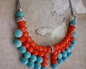 Tribal Necklace (Phoenix Rising) Neon Orange Red and Turquoise