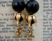 Black and Gold Earrings: Black Agate with Vintage Gold and Brass Components