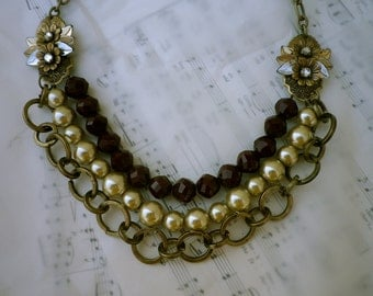 Champagne and Merlot Statement Necklace with Pearls and Vintage Components