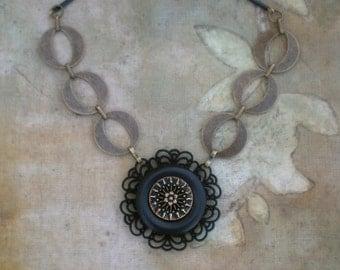 Art Deco Statement Necklace Black and Antique Brass Vintage Assemblage Button Necklace by Modifeye