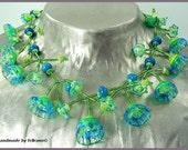 Waterflowers- handmade lampwork glass bead necklace by felirano