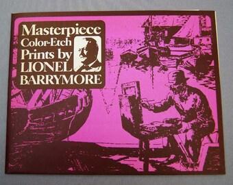 Vintage Lionel Barrymore Color Foil Etch Print Portfolio 241-112X 4 Print Set