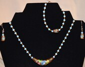 Blue Lotus Necklace, Bracelet and Earrings Set