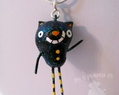Ornament or Charm - Jasper the Cat  - Mini Halloween Paperclay Sculpture - Chain Sold Separately