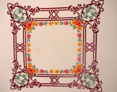 Vintage Tablecloth with Medallion Center and Picture and Floral Border