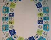Vintage Tablecloth with Blue and White Folk Art Design