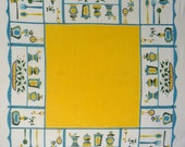 Vintage Tablecloth with Kitchy Kitchen Items