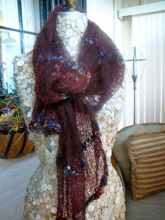 Sheer and Luxurious, Cashmere and Hand Dyed Silk Knitted  Shawl /Scarf
