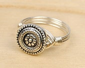 Wire Wrapped Ring- Sterling Silver Filled Wire with Metal Flower Bead - Any Size 4, 5, 6, 7, 8, 9, 10, 11, 12, 13, 14