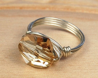 Sterling Silver Filled Ring - Wire Wrapped with Golden Shadow Swarovski Crystal - Any Size- Size 4, 5, 6, 7, 8, 9, 10, 11, 12, 13, 14