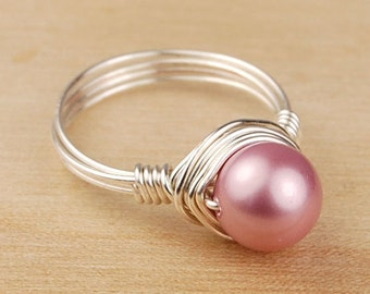 Sale! Wire Wrapped Ring- Sterling Silver Filled Wire with Rose Pink Swarovski Pearl - Any Size- Size 4, 5, 6, 7, 8, 9, 10, 11, 12, 13, 14