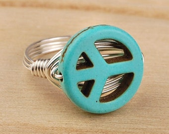 Sale! Peace Symbol Ring - Sterling Silver Filled Wire Wrapped Ring with Turquoise Gemstone Bead- Any Size 4,5,6, 7, 8, 9, 10, 11, 12, 13, 14