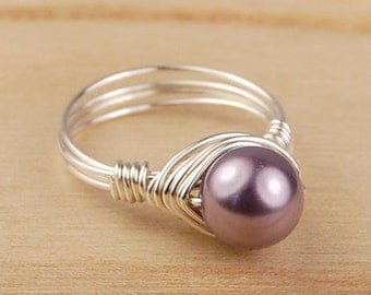 Sale! Wire Wrapped Ring- Sterling Silver Filled Wire with Mauve Swarovski Pearl - Any Size- Size 4, 5, 6, 7, 8, 9, 10, 11, 12, 13, 14
