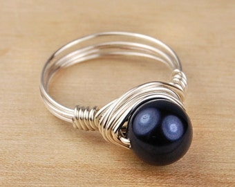 Sale! Wire Wrapped Ring- Sterling Silver Filled Wire with Midnight Blue Swarovski Pearl - Size 4, 5, 6, 7, 8, 9, 10, 11, 12, 13, 14