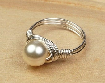 Cream Crystal Pearl Ring-Wire Wrapped in Sterling Silver Filled Wire with Swarovski Pearl-Size 4, 5, 6, 7, 8, 9, 10, 11, 12, 13, 14