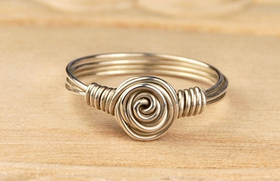 Wire Wrapped Ring- Sterling Silver Filled Wire with Dainty Swirl - Any Size- Size 4, 5, 6, 7, 8, 9, 10, 11, 12, 13, 14