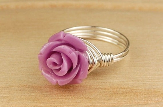 Light Purple Rose Ring -Sterling Silver Filled Wire Wrap Ring with Carved Gemstone Rose -Any Size 4, 5, 6, 7, 8, 9, 10, 11, 12, 13, 14