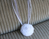 Single large white fabric rosette flower on adjustable organza ribbon necklace orange brown purple lime green yellow