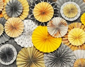 Magazine Feature - Ka-Lollie Paper Rosette Backdrop for Dessert Table / Shower/ Nursery in Yellow, Peach & Gray Vintage Wedding