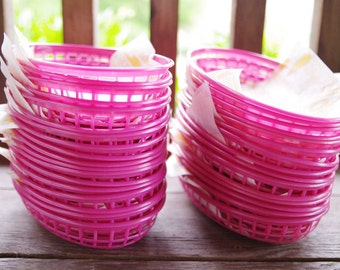 12 Rare Pink Hamburger Burger Baskets with Liners - Perfect for Girls Birthday BBQ Party & Shower