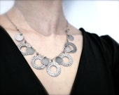 brass necklace, brass statement necklace, gray necklace, circle metallic necklace