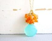 Aqua Chalcedony Necklace with Orange Carnelian Gemstones.  Gemstone Necklace, Gold Wire Wrap Gemstone Necklace.
