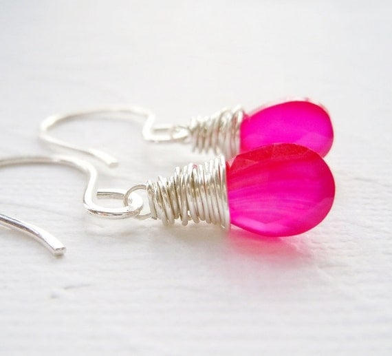 Hot Pink Chalcedony Earrings on Hand Forged Sterling Silver Earwires.  Wire Wrap Earrings. Handmade.